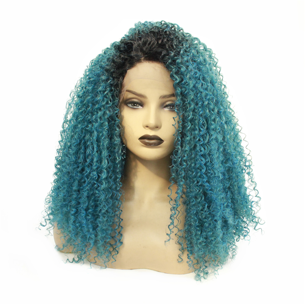 Dark Roots Lace Wigs Synthetic Hair For Black Women 26 Inch Long Kinky Curly Ombre Green Color Heat Resistant Fiber Daily Party