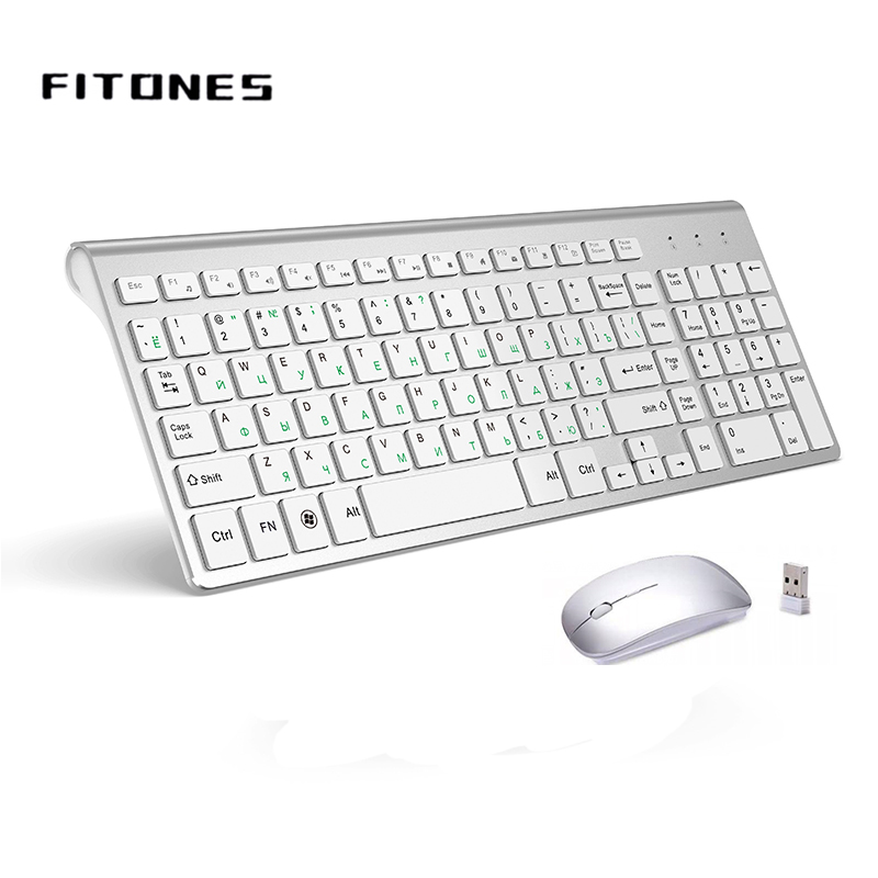 2.4G Wireless Keyboard And Mouse, Russian Layout U.S. Layout, Compact, Convenient, Ultra Thin, Ergonomic, Silver White
