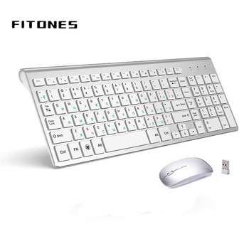 2.4G Wireless Keyboard and Mouse, Russian Layout U.S. Layout, Compact, Convenient, Ultra Thin, Ergonomic, Silver White 2 4g wireless keyboard and mouse combo orsolya whisper quiet english german de italian it layout keyboard rose gold silver