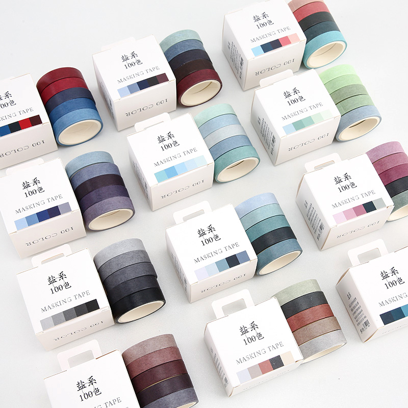 5pcs Pure Pastel Color Paper Washi Tape Set 100 Colors 10mm Decoration Adhesive Masking Tapes Stickers Album Diary DIY A6352
