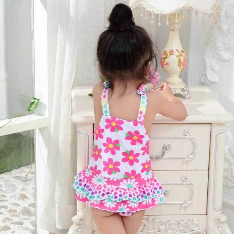 Korean-style KID'S Swimwear Children Students Pink Small Flower Polka Dot Skirt-Cute GIRL'S Hot Springs One-piece Swimwear