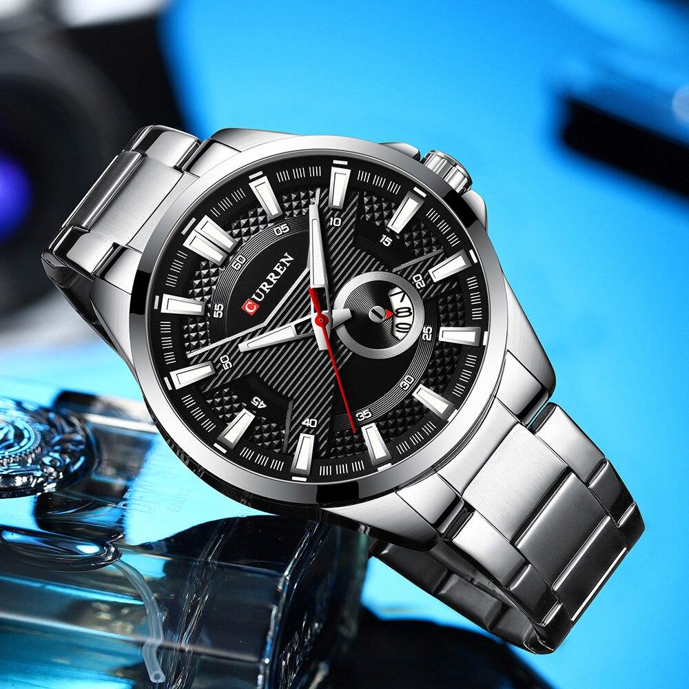 H41236ef688fd4e26a476f1bd0cc37149X New Stainless Steel Quartz Men's Watches Fashion CURREN Wrist Watch Causal Business Watch Top Luxury Brand Men Watch Male Clock