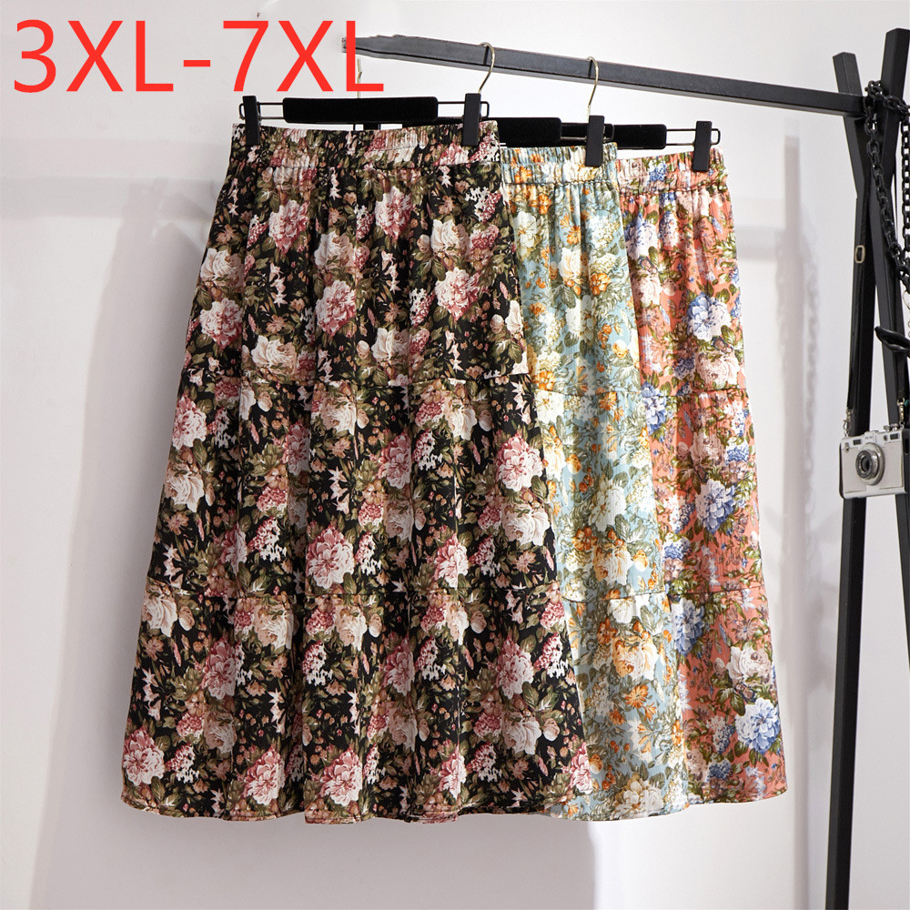 New 2020 Summer Plus Size Midi Skirt For Women Large Casual Loose Floral Print Flower Chiffon Pleated Skirts 3XL 4XL 5XL 6XL 7XL