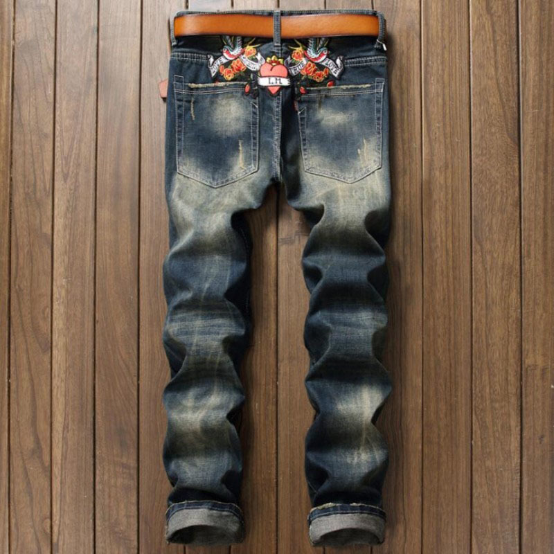 Big Size 28-38 2020 New Blue Jeans Men Fashion Floral Printed Slim Fit Straight Jeans Hombre Casual Flower Pattern Punk Jeans