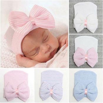 Śliczne noworodka niemowlę dziewczyna wygodne Bowknot czepek medyczny ciepły czapka typu Beanie tanie i dobre opinie Imcute COTTON Unisex 0-3 miesięcy Stałe Adjustable