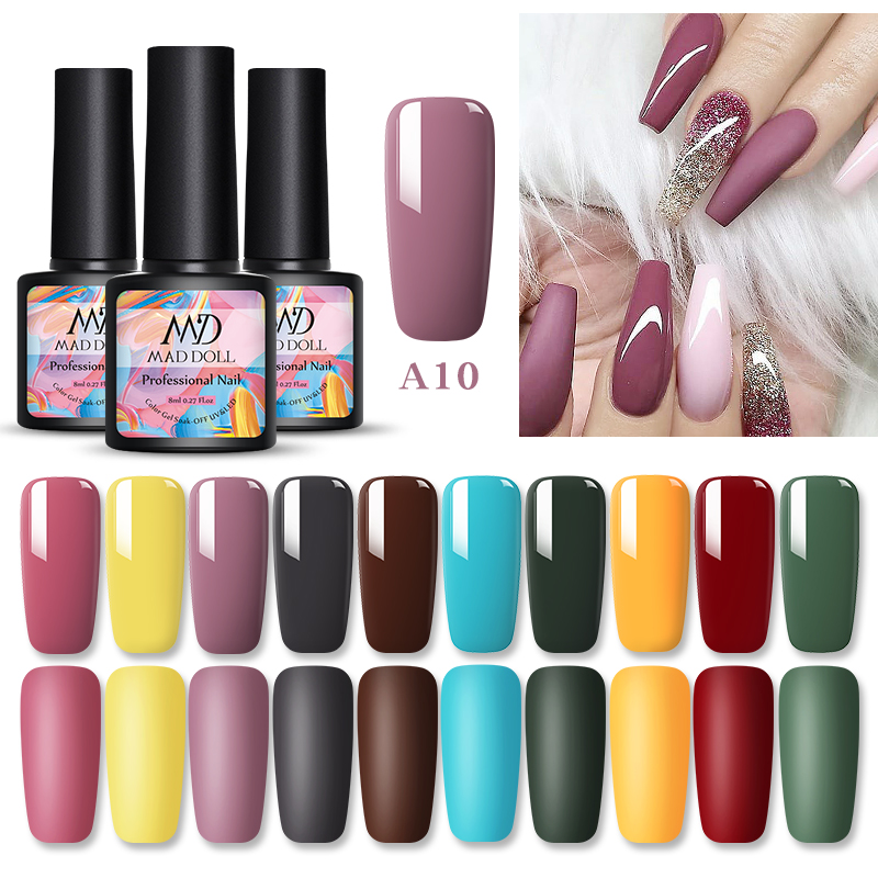 1 Bottle 8ml MAD DOLL Fall And Winter Colors Nail Gel Polish Soak Off UV LED Nail Art Gel Varnish DIY  Colors
