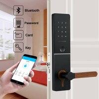 Elektronische WIFI Bluetooth Türschloss Sicherheit App Passwort Türschloss Für Home Mit RFID Kartenleser Edelstahl