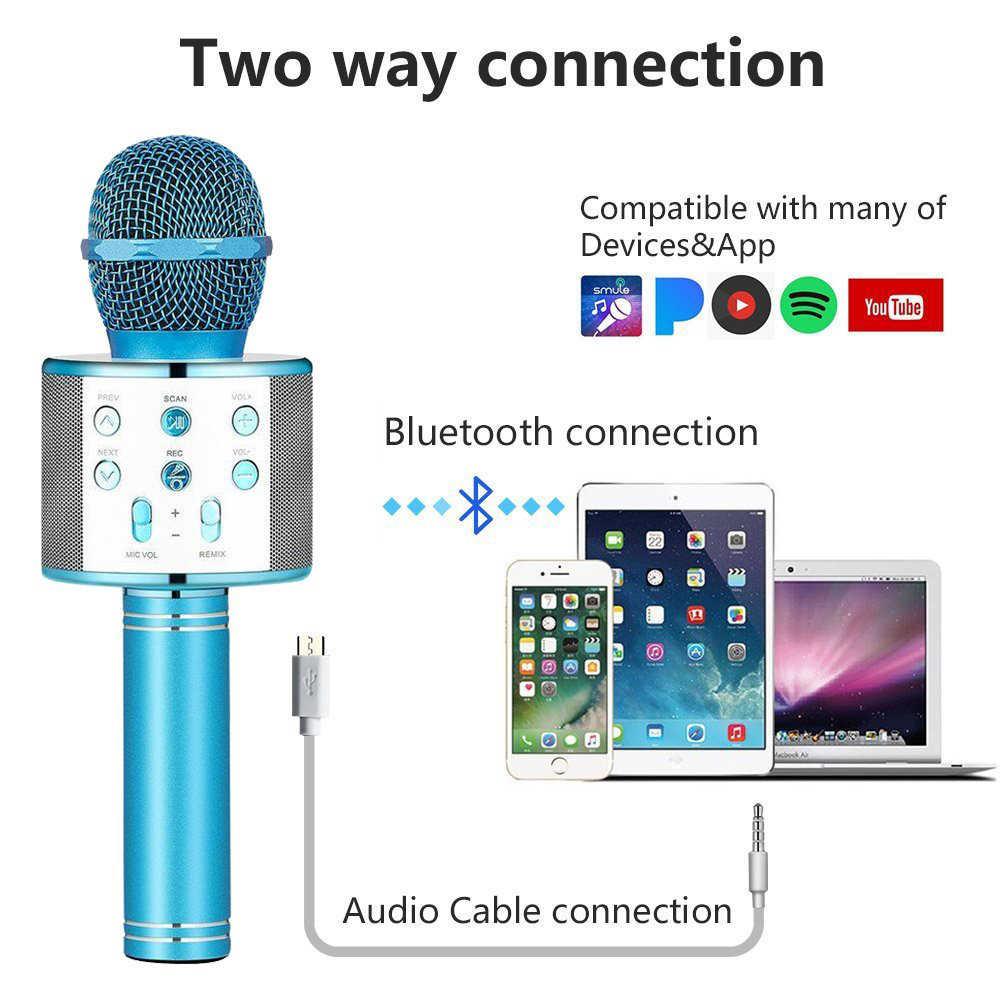 Micrófono inalámbrico condensador profesional micrófono de Karaoke Bluetooth Stand Radio Mikrofon estudio de grabación para iPhone Android