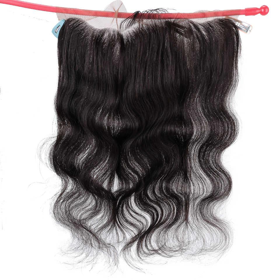 Salonchat brezilyalı vücut dalga dantel Frontal HD İsviçre dantel Frontal insan saçı Remy saç şeffaf dantel Frontal kapatma 13*4