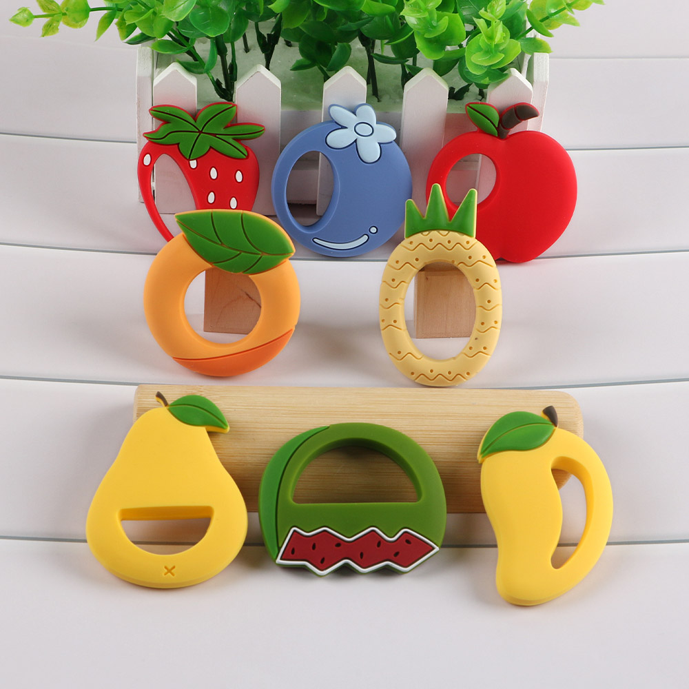 Kovict 5/10Pcs Rich And Diverse Cartoon Fruits Silicone Teether BPA Food Free Baby Tooth Care Nipple Teething Ring