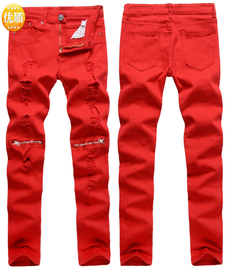 New Style Men With Holes Knee Zipper Pure Cut Rotten Casual Pants Slim Fit Pants Stretch Pants Nightclub Fashion Pants 0303