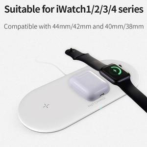 Image 2 - 3 Trong 1 Bộ Sạc Không Dây Cho Airpords Dòng Đồng Hồ Apple 2 3 4 Sạc Không Dây Miếng Lót Cho iPhone XR 11 pro XS MAX 8 Sạc Điện Thoại