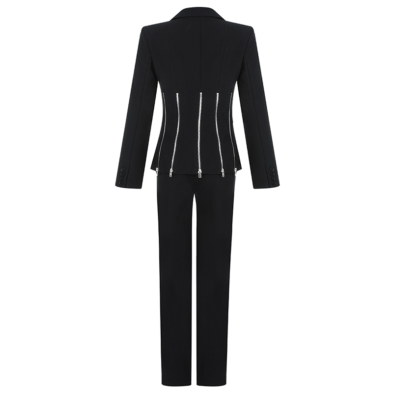 Max Spri 2019 New Fashion Punk Style Two Piece Set Women V neck Long Split Sleeves Zipper Decoration Blazer Straight Pants Suits - 5