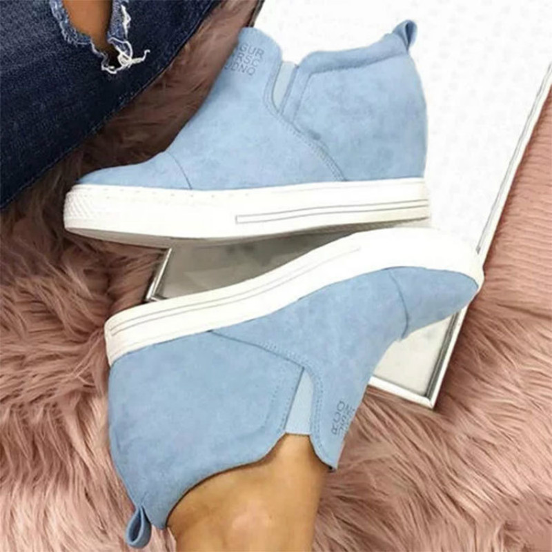 Women Ankle Boots Wedges Platform Autumn Female High Heel Height Increasing Shoes Ladies Elastic Band Fashion Casual Plus Size in Ankle Boots from Shoes