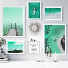 Bridge Sea Beach Coconut Palm Tree Boat Wall Art Canvas Painting Nordic Posters And Prints Wall Pictures For Living Room Decor coconut palm tree beach wall art canvas painting nordic landscape posters and prints wall pictures for living room unframed