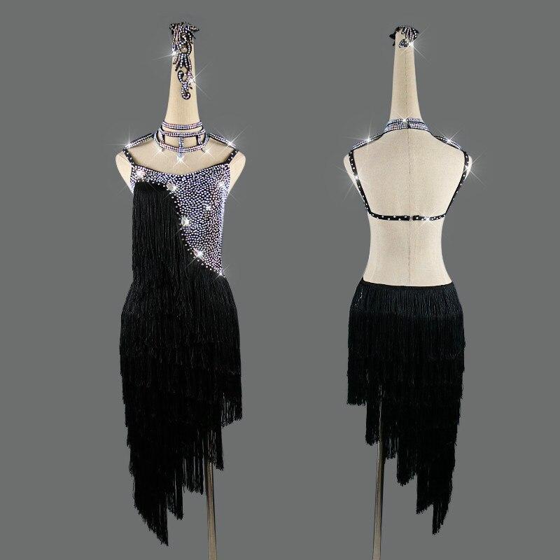 New Black Latin Dance Dress Women Performance Clothing Shiny Rhinestone Sexy Fringed Backless Dance Dresses Customizable Size