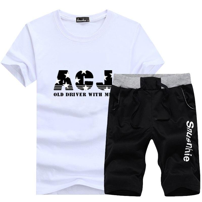 T-shirt Men's Short Sleeve Summer Set 2020 New Style Youth Crew Neck Slim Fit T-shirt Popular Brand Shorts Casual Sports Clothin