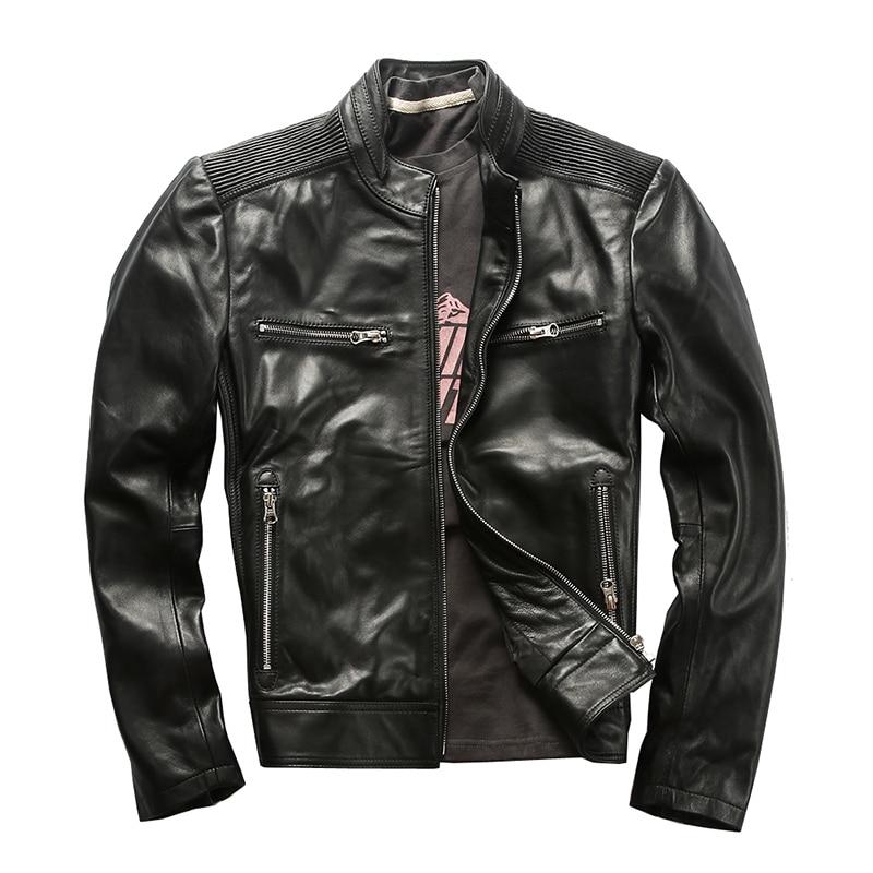 AH1910 Read Description! Asian Size Sheep Leather Jacket Genuine Sheep Leather Jacket