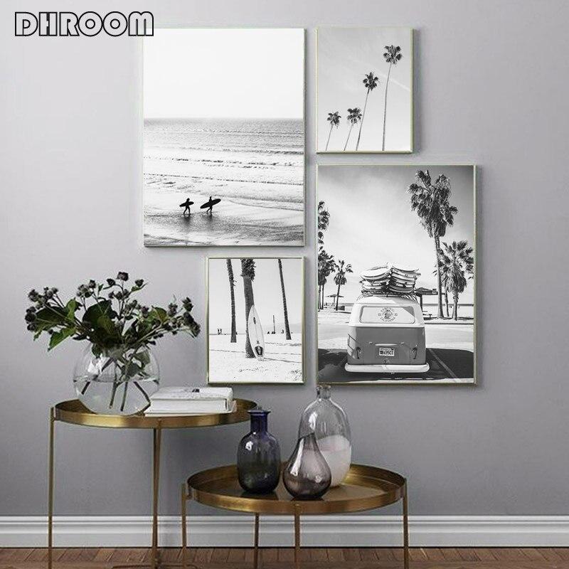 Impressão do cartaz de surf preto e branco arte da parede praia tropical pintura da lona palm parede fotos para sala estar moderna decoração casa