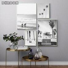 Pôster de surf, arte de parede preto e branco, praia, tela tropical, pintura, palmeira, imagens para sala, moderna para casa decoração