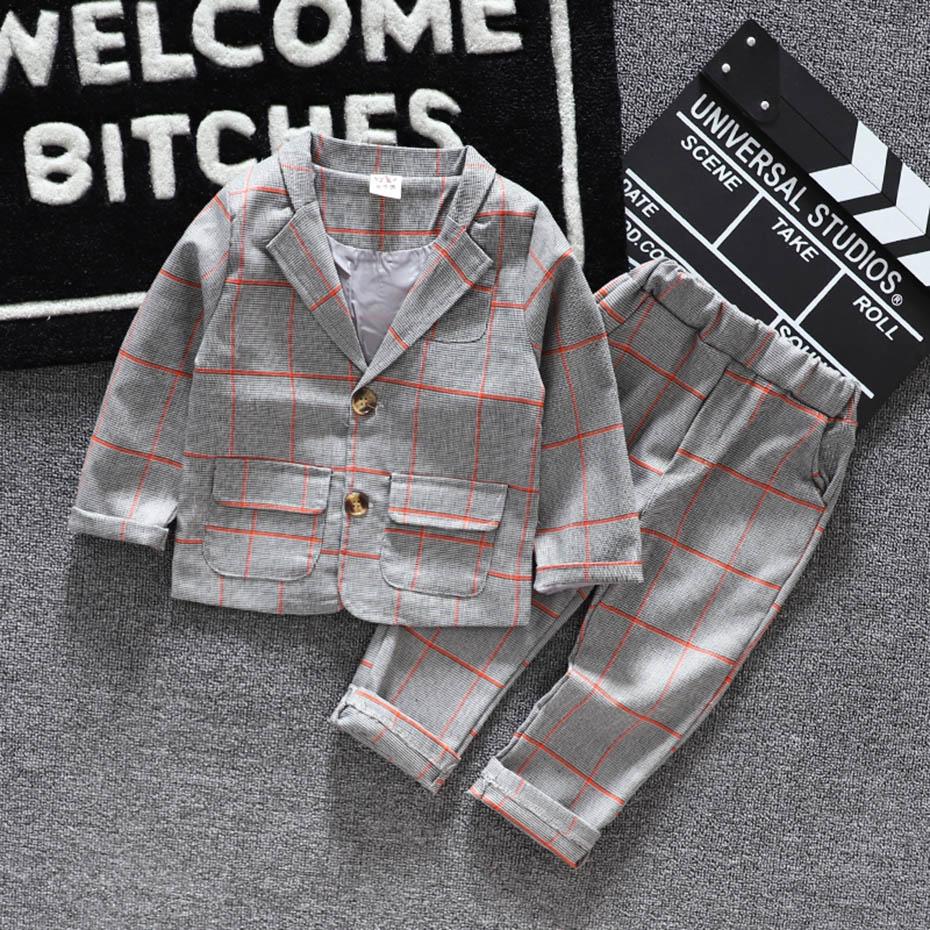 Baby Boys Clothes Plaid Coat + Pants Boy Suit Set Casual Style Boys Clothes Casual Style Toddler Kids Suit Clothes 5