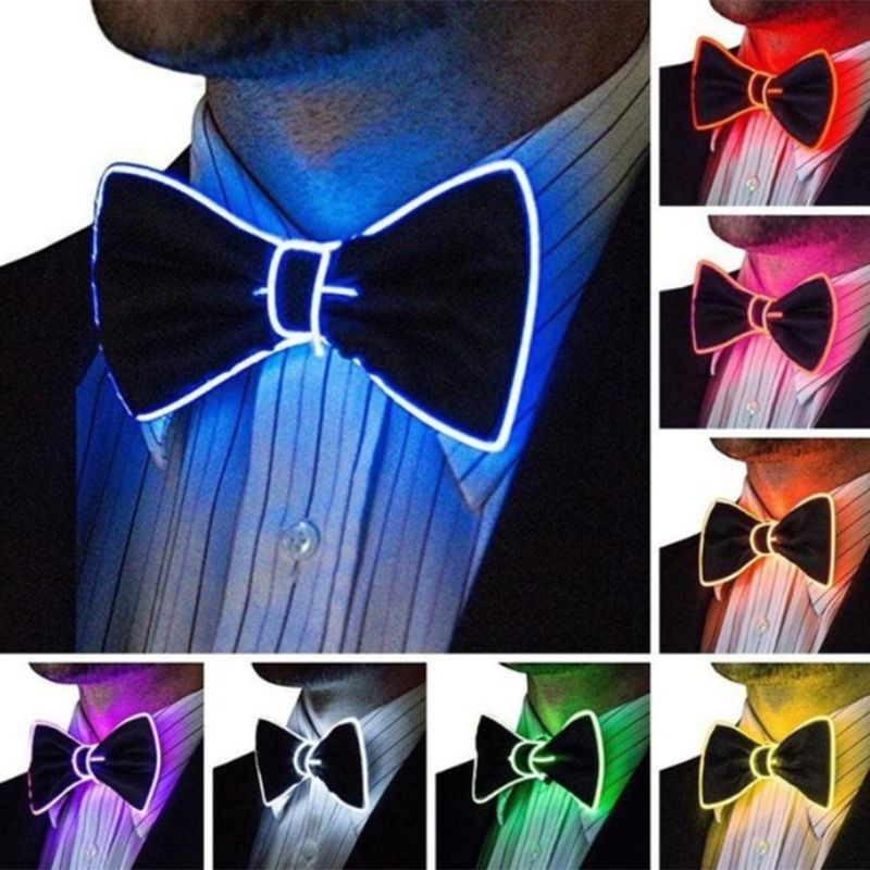 Men Luminous LED El Wire Bow Tie Adjustable Glowing Neon Flashing Light Up Necktie With Switch Controller Party Favors