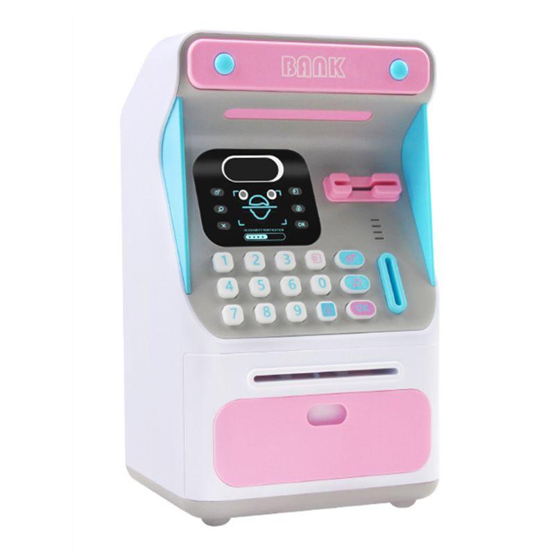 Mini banco de dinheiro atm com bloqueio eletrônico reconhecimento facial rolo automático papel dinheiro & moeda para crianças adolescentes meninos meninas|Brinquedos bancários e de dinheiro|   -