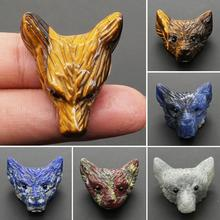 Naturalsss Crystal Stone Carved Wolf Head Statue Necklace Pendant DIY Handwork Chains For Men Jewelry F