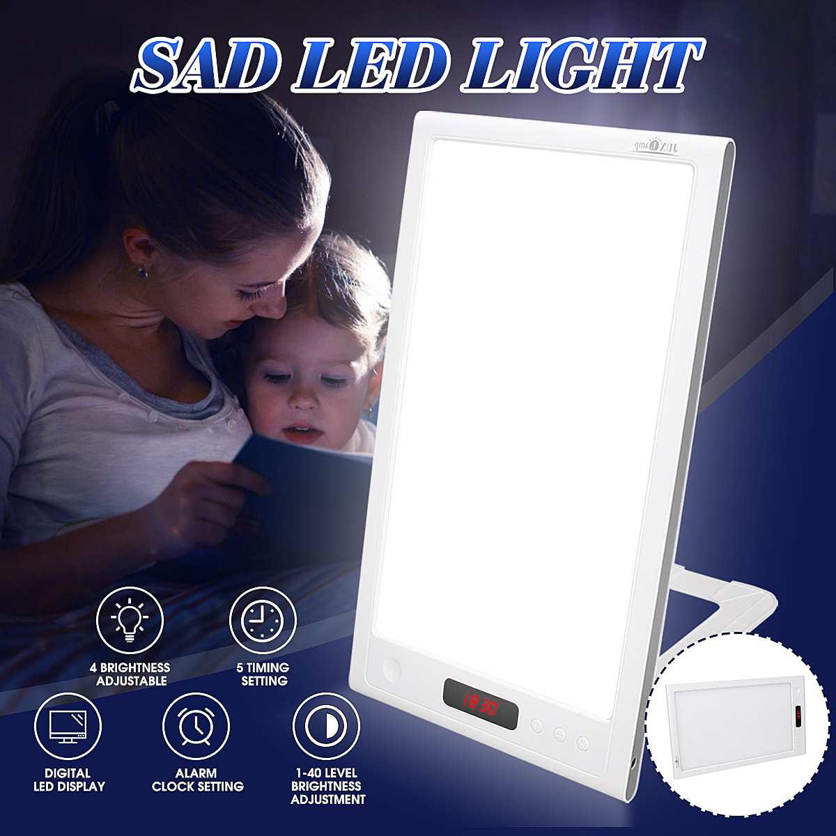 12W Therapy Lamp 4 Modes Phototherapy Light SAD Phototherapy Light Daylight Affective Disorder LED Lamp Relief Listless Fatigued
