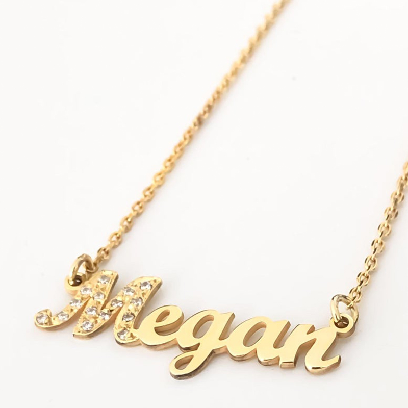 HIYONG Signature Custom Necklace Gold Color Personalized Handwriting Necklaces For Gift Nameplate Pendant Choker Zirconia