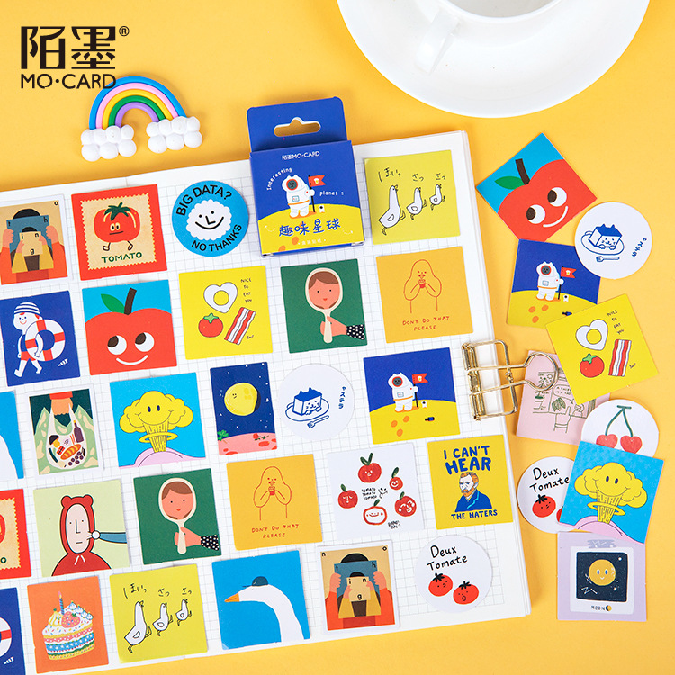 Mohamm 45 PCS Boxed Stickers Fun Planet Cute Cartoon Decoration Sticker Flakes Scrapbooking Gift Girl School Supplies
