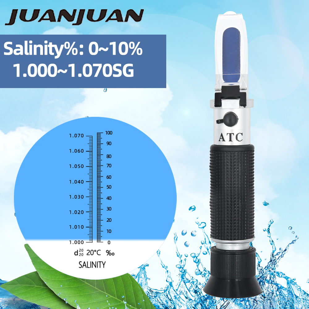 Handheld New Design Salinity Refractometer 0-10% Aquarium Water Salt Hydrometer Meter Tester With ATC 33% Off 33% Off