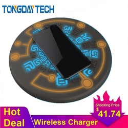 Tongdaytech 10W la magia Array Qi Cargador inalámbrico para Iphone 8 X XR XS 11 Pro Max Cargador Inalambrico rápido almohadilla de carga inalámbrica