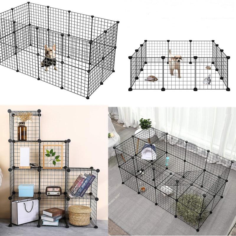 36pcs/10pcs/8pcs Small Pet Pen Bunny Cage Dogs Playpen Indoor Out Door Animal Fence DIY Foldable Pet House Metal  Cube Storage