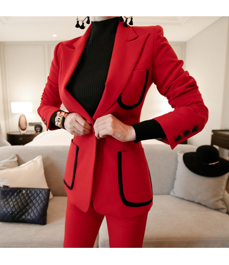 Custom Made Red Women Suits Women Work Wear Hand Tailored Women Ladies Suit Business Suit Office Suit Two Piece(Jacket+Pants)