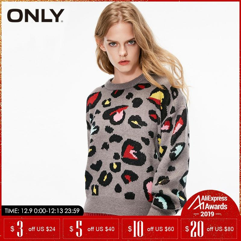 ONLY Crew Neck Leopard Autumn Winter Women Sweater| 118413504