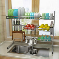 Stainless Steel Kitchen Shelf Rack Drying Drain Storage Holders Kitchen Plate Dish Cutlery Cup Drain Rack Kitchen Organizer Storage Holders & Racks    -