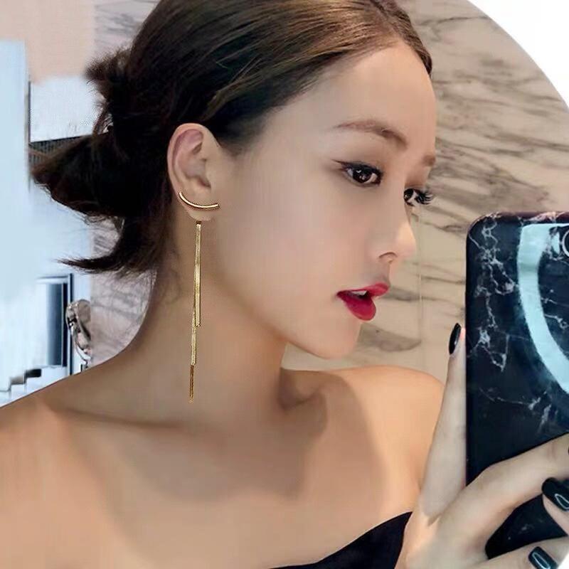 New Luxury Gold Color Long Thread Tassel Drop Earrings for Women Glossy Arc Bar Geometric Earring Fashion Statement Jewelry 2020