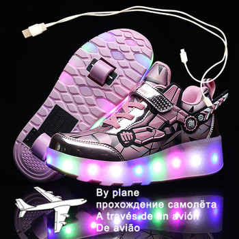 Dzieci dwa koła świecące trampki czarna różowa dioda Led lekkie buty rolki dzieci buty Led chłopcy dziewczęta ładowanie USB tanie i dobre opinie W wieku 0-6m 7-12m 13-24m 25-36m 7-12y 12 + y Cotton Fabric CN (pochodzenie) CZTERY PORY ROKU Damsko-męskie Buty casualowe