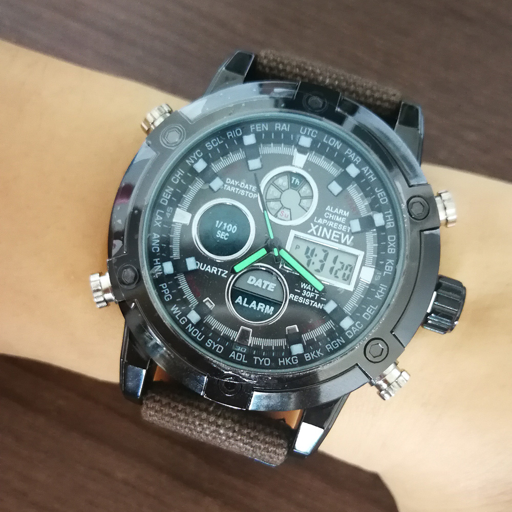 Fashion Big Dial Military Watch Men Nylon Waterproof Outdoor Sport Quartz Digital Watch Army Male Clock Relogio Masculino 2