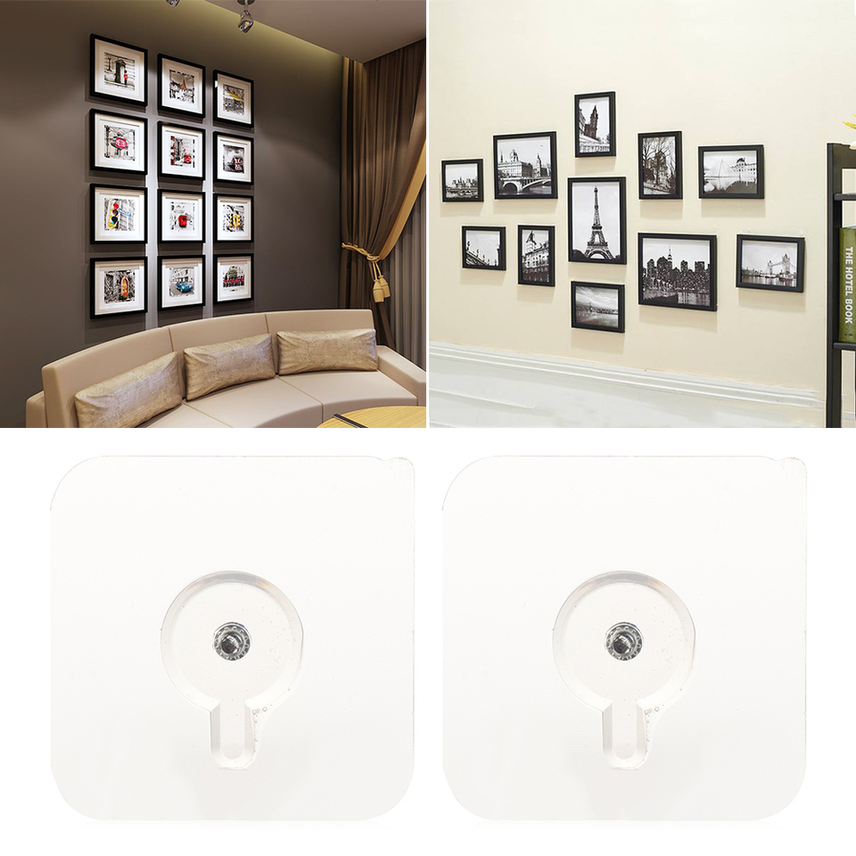 Transparent Photo Frame Hook Seamless Adhesive Hooks Wall Rack Storage Hanger