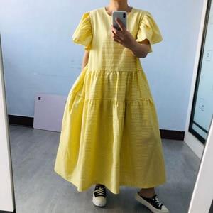[EAM] Women Yellow Ruffles Plaid Big Size Long Dress New Round Neck Short Sleeve Loose Fit Fashion Tide Spring Summer 2020 1U748