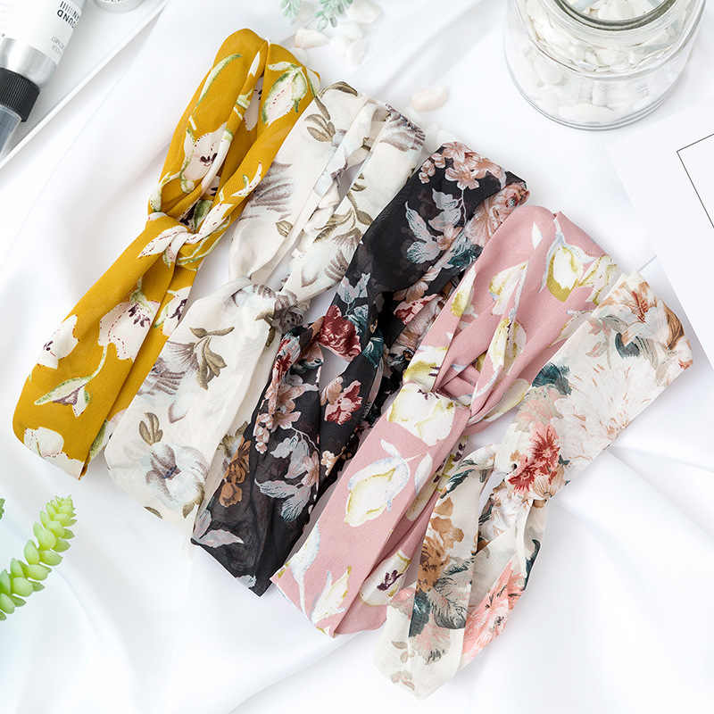 Women Flora Printed Headband Rope Elastic Hair Bands Hair Clip Women Female Turban Hair Accessories
