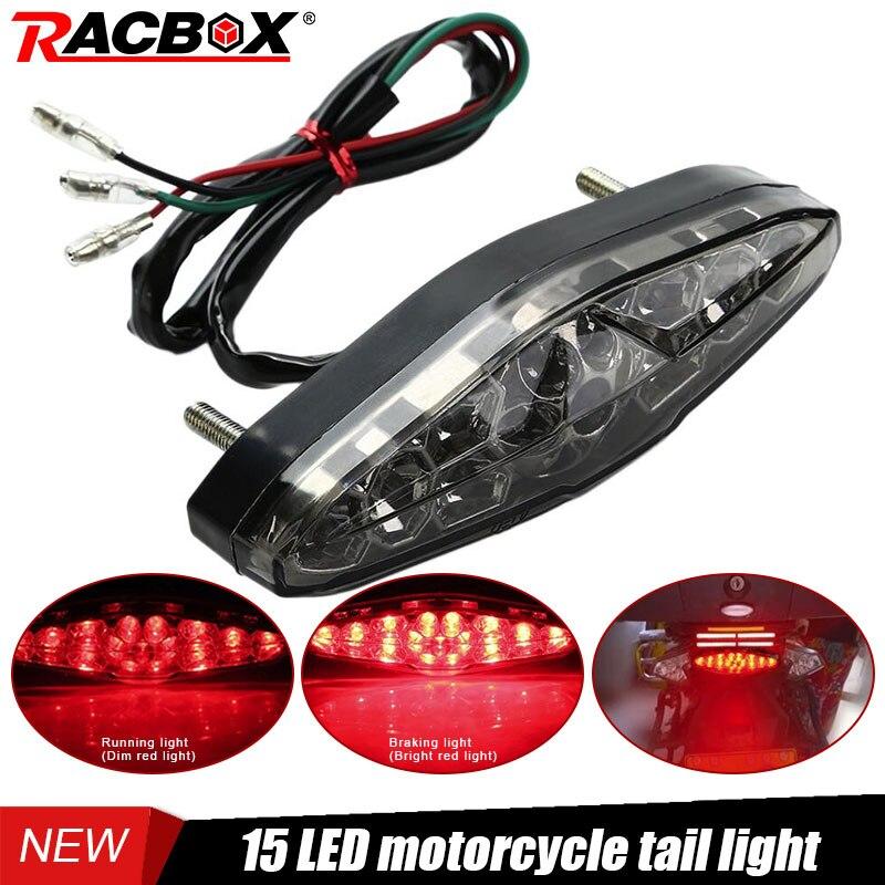 Black Motorcycles LED Rear Tail Lamp Stop Red Brake Light High Bright Chips Universal 12V Motorbike ATV Dirt Bike Running Light