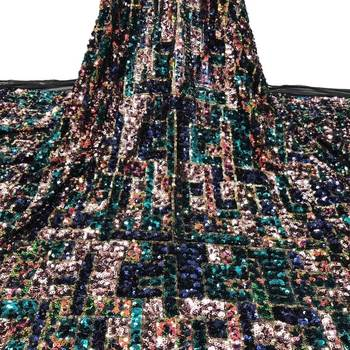 African Sequins Net Lace Fabric High Quality Nigeria Embroidery  Sequins Lace Fabric for party