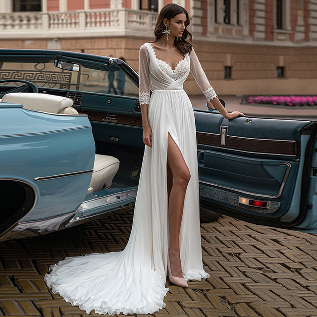 Fashion Boho Slit Chiffon Wedding Dress 2021 High Quality V-Neck Sweep Train Three Quarter Backless Bridal Gowns 5