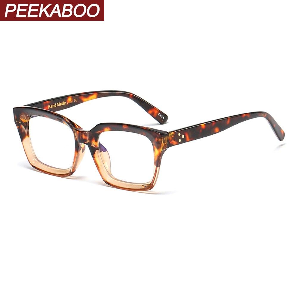 Peekaboo Female Anti Blue Light Glasses For Computer Protection Clear Lens Male Prescription Eyeglasses For Women Leopard