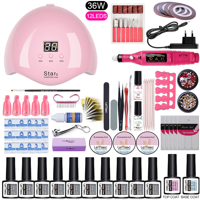 Nail Art Tool Set UV LED Curing Lamp Nail Gel Polish Kit Soak Off  Tools With Electric Nail Drill All For