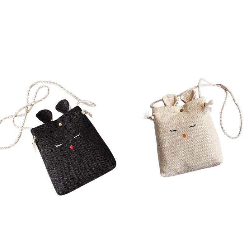 2 PCS Korea Style Lady Rabbit Ear Cute Women Shoulder Bag Lovely Children One Shoulder Bag , Black & Creamy-White