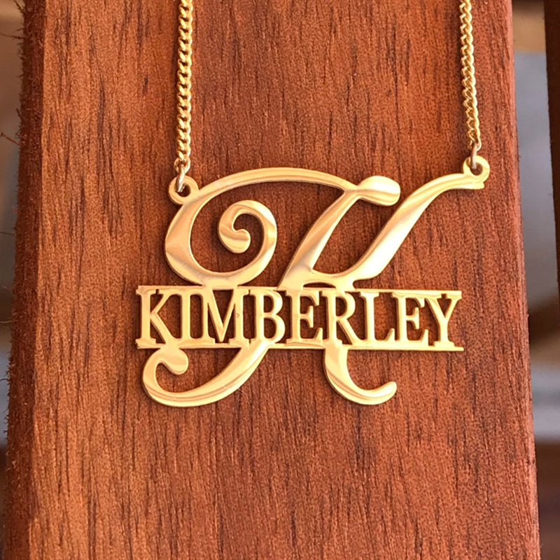 Unique Style Personalized Name Necklaces Pendants Customized Jewelry Big First Letters Nameplate Choker Necklace For Women Gifs|Customized Necklaces|   - AliExpress